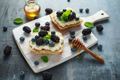 Nya söta Blackberry, blåbärbruschetta, rostat bröd med keso, honung i ett vitt bräde royaltyfri fotografi