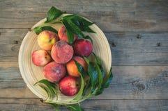 Nya saftiga persikor med sidor på mörk trälantlig bakgrund Arkivbilder