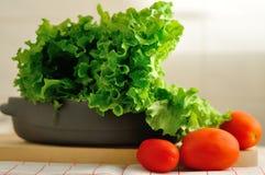 Nya sallad och tomater Arkivbild