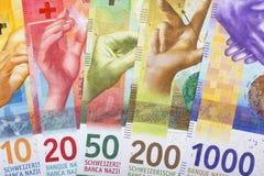 Nya schweizisk franc, en bakgrund royaltyfri fotografi