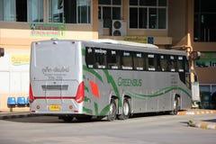 Nya Skåne 15 meter buss av det Greenbus företaget Royaltyfri Fotografi