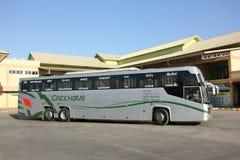 Nya Skåne 15 meter buss av det Greenbus företaget Arkivfoto