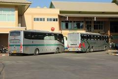 Nya Skåne 15 meter buss av det Greenbus företaget Royaltyfria Bilder