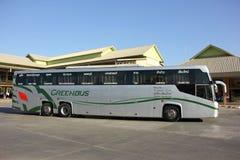 Nya Skåne 15 meter buss av det Greenbus företaget Royaltyfria Foton