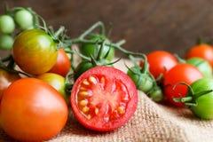 Nya små tomater med den gröna stammen på träbakgrund Arkivfoto