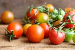 Nya små tomater med den gröna stammen på träbakgrund Royaltyfria Bilder