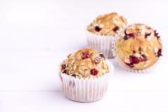 Nya smakliga bakade Canberry muffin på för muffinkopia för vit bakgrund smakligt handgjort utrymme Fotografering för Bildbyråer
