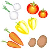nya smakliga gr?nsaker I samlingen av potatisar morötter, lökar, peppar, tomater En överflödande skördvektor royaltyfri illustrationer