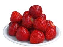 Nya smakliga jordgubbar på efterrättplattan i profil Fotografering för Bildbyråer