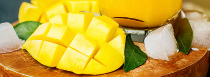 Nya smoothies för tropisk frukt med mango och is, baner för oss Royaltyfria Bilder