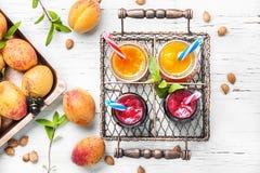 Nya smoothies med aprikons och vinbäret Fotografering för Bildbyråer