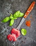 Nya snitt för rått kött Royaltyfria Foton