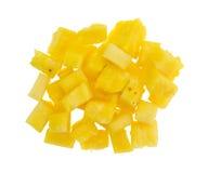 Nya stora bitar av ananas på en vit bakgrund Fotografering för Bildbyråer