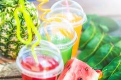 Nya sunda fruktsafter, frukt, ananas, vattenmelon på bakgrunden av havet Sommar vilar, den sunda livsstilkopian Royaltyfri Bild
