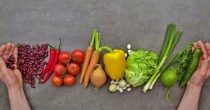 Nya sunda grönsaker på grå bakgrund arkivbilder