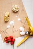 Nya syrliga ingredienser Arkivbild