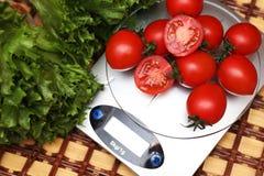 Nya tomater på kökvågvägning Arkivfoto