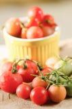 Nya tomater på trä- organiska grönsaker Arkivbild