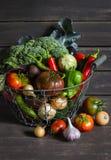 Nya trädgårds- grönsaker - broccoli, zucchinin, aubergine, peppar, beta, tomater, lökar, vitlök - i tappningmetallkorg Royaltyfria Bilder