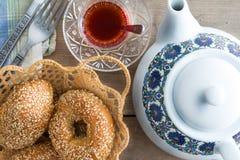 Nya turkiska sesambaglar för teatime Royaltyfria Bilder