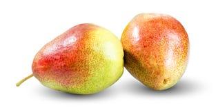 Nya två päron som isoleras på vit bakgrund Arkivbild