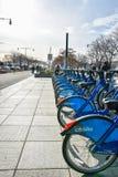 nya USA york Service för Citi cykelhyra på Hudson River Greenway Arkivbild