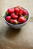 Nya valda jordgubbar i en bunke Arkivbild
