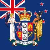 Nya Zeeland lag av armen och flaggan Royaltyfria Bilder