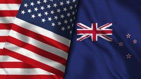 Nya Zeeland och USA sjunker - 3D flaggan för illustrationen två stock illustrationer
