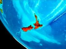 Nya Zeeland på jord från utrymme Arkivbild