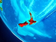 Nya Zeeland på jordklotet från utrymme Royaltyfria Bilder