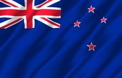 Nya Zeeland realistisk flaggaillustration stock illustrationer