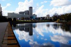 Nyamiha Terraplén del río en Minsk Imágenes de archivo libres de regalías