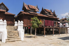 Nyan Shwe Kgua temple. Ancient wooden Monastery at Nyan Shwe Kgua temple in Myanmar Stock Photo