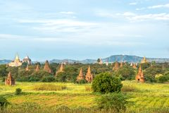 Nyang-U, Myanmar & x28;Burma& x29;. Day view of a lot of buddhist temples at Bagan from the terace of a royalty free stock photo