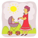 Nyanya2. Vector illustration with a nanny and baby in stroller Stock Images