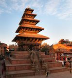 Nyatapola pagod på den Taumadhi fyrkanten i Bhaktapur Royaltyfria Foton