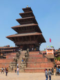 Nyatapola Temple, Bhaktapur, Nepal. The five-storey, 30m-high Nyatapola Temple  is the highest temple of Nepal. The temple rises above Bhaktapur's rooftops, with Royalty Free Stock Images