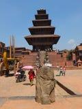 Nyatapola Temple, Bhaktapur, Nepal. The five-storey, 30m-high Nyatapola Temple  is the highest temple of Nepal. The temple rises above Bhaktapur's rooftops, with Royalty Free Stock Photos