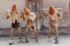 Nyau dancers at a Gule Wamkulu ceremony, Malawi Stock Image
