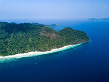 Nyaung Oo Phee lsland with white sandy beach. Aerial view from d. Rone. Myanmar (Burma) travel destinations Stock Photos