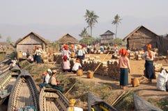 NYAUNG SHWE, MYANMAR - Firewood market Royalty Free Stock Images