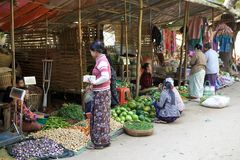 Nyaung U market, Bagan, Myanmar Royalty Free Stock Photography