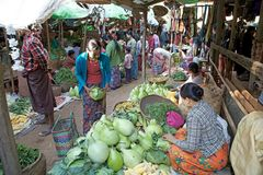 Nyaung U market, Bagan, Myanmar Stock Photography