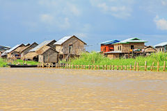 Nyaungshwe Tall House Village, Myanmar. Nyaungshwe Township is a township of Taunggyi District in the Shan State of Myanmar. The principal town is Nyaungshwe Royalty Free Stock Photo