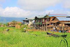 Nyaungshwe Tall House Village, Myanmar. Nyaungshwe Township is a township of Taunggyi District in the Shan State of Myanmar. The principal town is Nyaungshwe Stock Photos