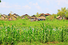 Nyaungshwe Tall House Village, Myanmar. Nyaungshwe Township is a township of Taunggyi District in the Shan State of Myanmar. The principal town is Nyaungshwe Stock Photography