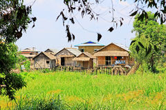Nyaungshwe Tall House Village, Myanmar. Nyaungshwe Township is a township of Taunggyi District in the Shan State of Myanmar. The principal town is Nyaungshwe Royalty Free Stock Photography