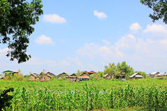 Nyaungshwe Tall House Village, Myanmar. Nyaungshwe Township is a township of Taunggyi District in the Shan State of Myanmar. The principal town is Nyaungshwe Royalty Free Stock Image