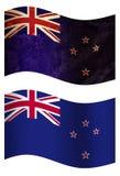 Nyazeeländsk flagga för land 3D, två stilar royaltyfri illustrationer